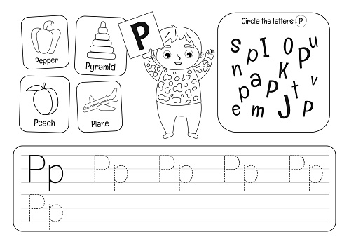 Kids learning material. Worksheet for learning alphabet. Letter S. Black and white.