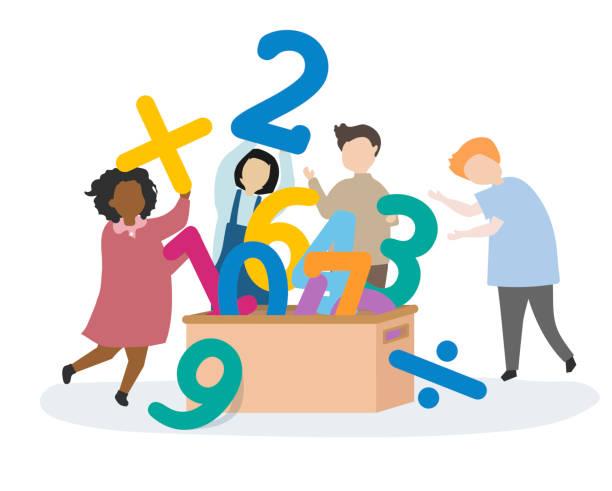 kinder lernen zahlen und mathematik - matheunterricht stock-grafiken, -clipart, -cartoons und -symbole