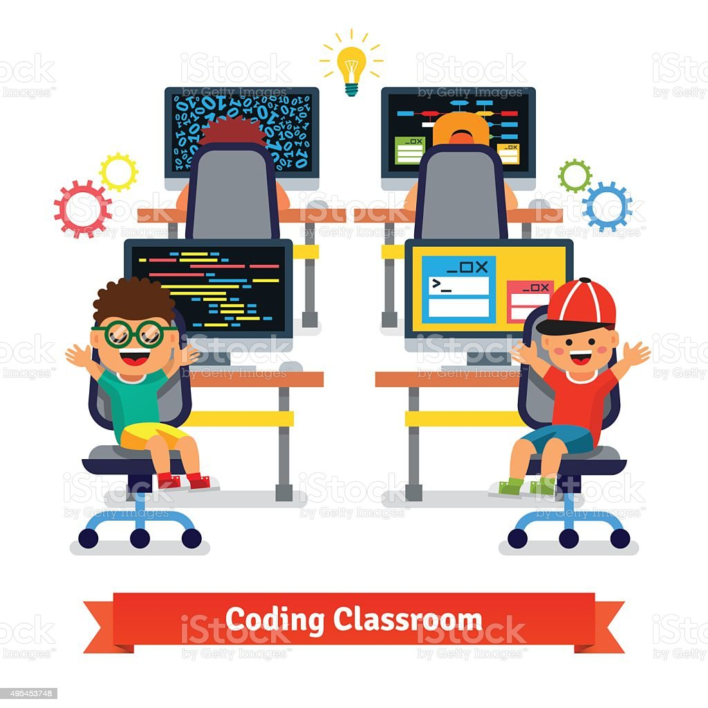 Kids learning to code and program in science class vector art illustration
