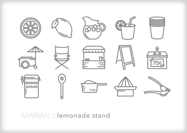 Kids lemonade stand line icon set Set of 15 lemonade stand line icon set for neighborhood kids selling drinks for charity or for fun lemonade stand stock illustrations
