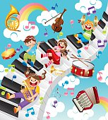 kids sing and play music on keyboard,vector illustration.