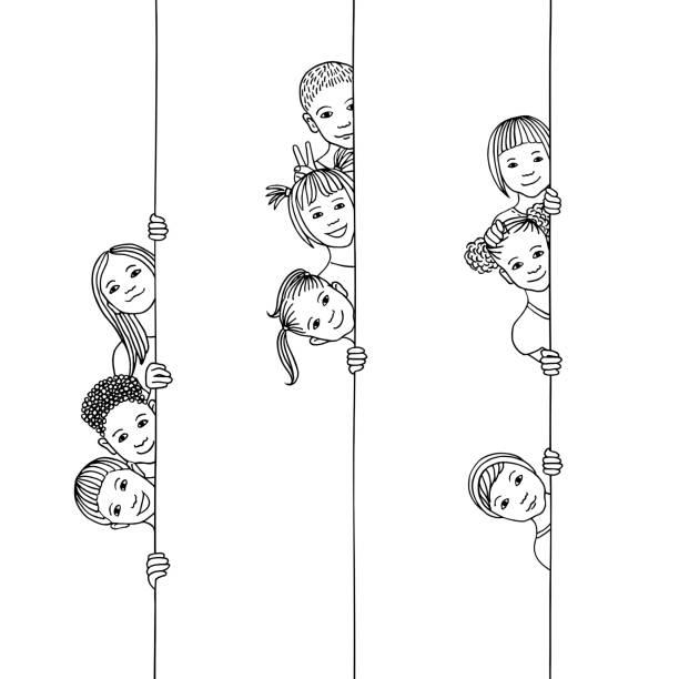 Kids looking around the corner vector art illustration