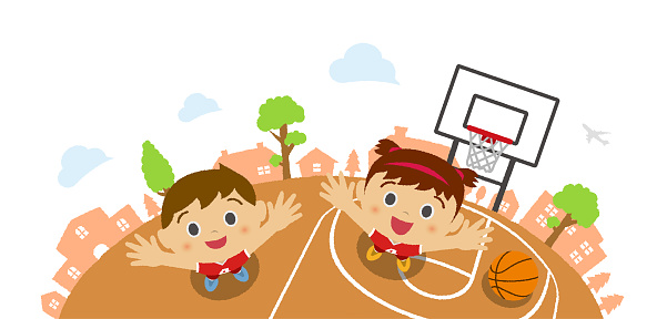 Kids (children / boy and girl) looking up into the sky (wearing basketball uniform). Vector cartoon illustration. Basketball court background  (bird's eye view).