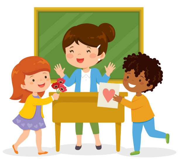 Kids loving their teacher Happy teacher receiving flowers and a card from her loving students. teacher appreciation week stock illustrations