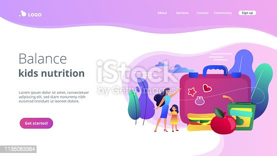 Businesswoman with child pointing to lunch box and sandwich with apple, tiny people. Kids lunch box, lunch box idea, balanced kids nutrition concept. Bright vibrant violet vector isolated illustration