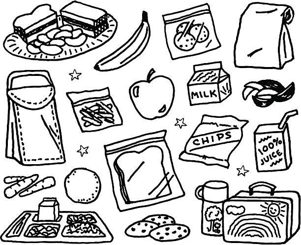 illustrazioni stock, clip art, cartoni animati e icone di tendenza di per bambini pranzo - spuntino
