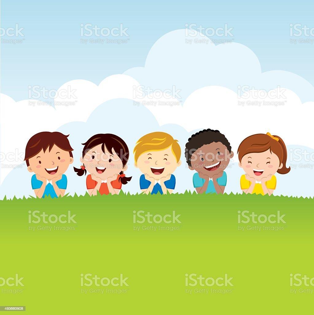 Kids lying on the grass vector art illustration
