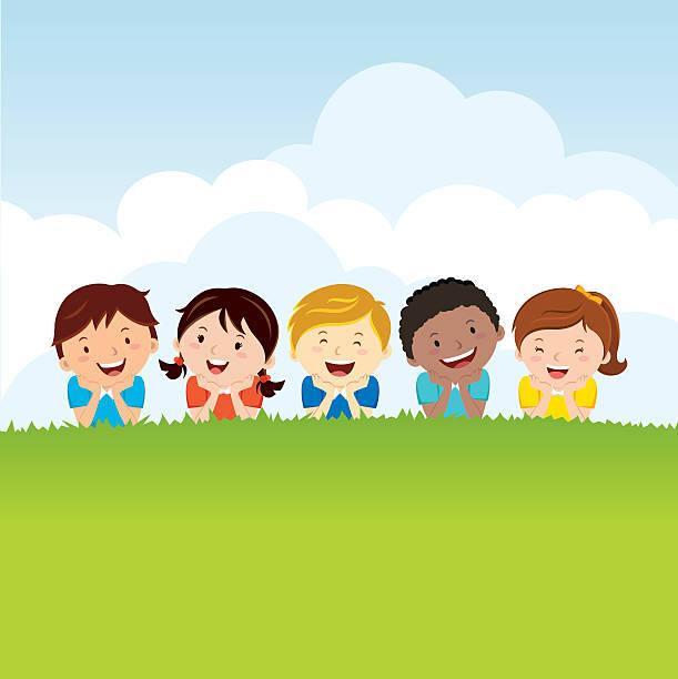 ilustrações, clipart, desenhos animados e ícones de crianças deitado na grama - exteriores de escola