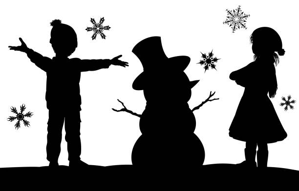Kids Making Snowman Christmas Silhouette Scene A Christmas winter silhouette scene with a kids having fun in the snow building a snowman with snowflakes falling black white snow scene silhouette stock illustrations