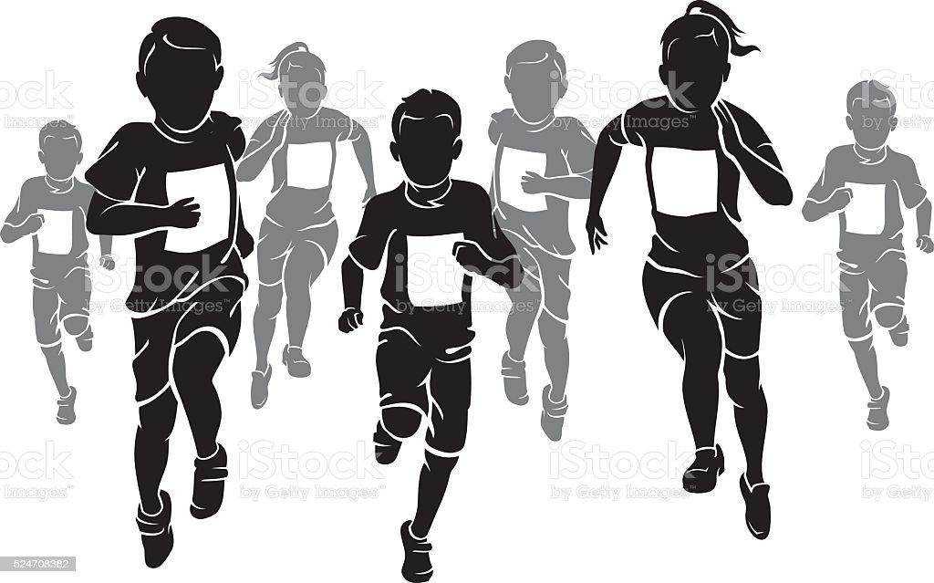 Kids Marathon vector art illustration