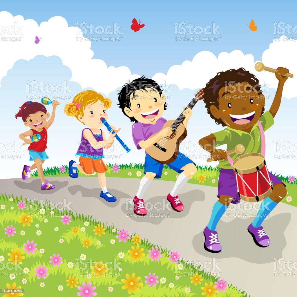 Kids Marching vector art illustration