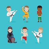 Kids martial arts vector illustration. Karate girl and boxing boy