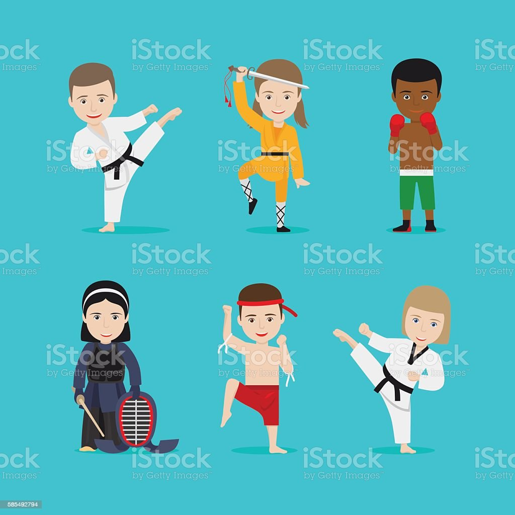 Kids martial arts vector icons – Vektorgrafik