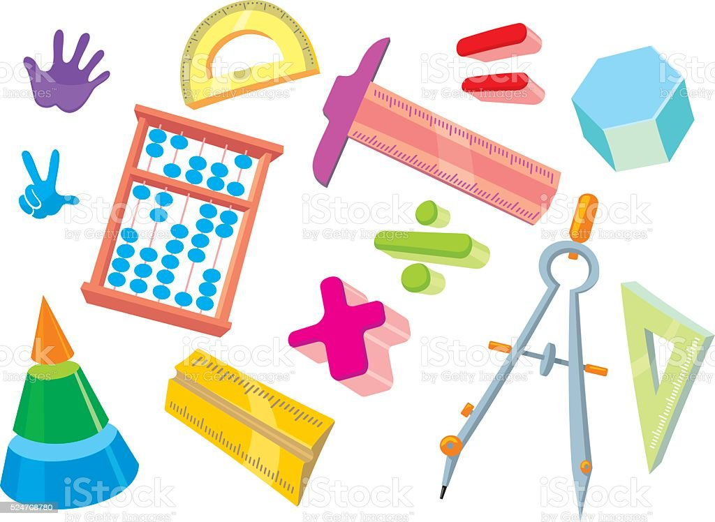 Kids Math Objects Stock Vector Art & More Images of Abacus 524708780 ...
