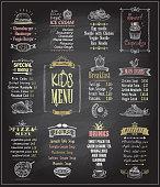 Kids menu chalkboard designs set