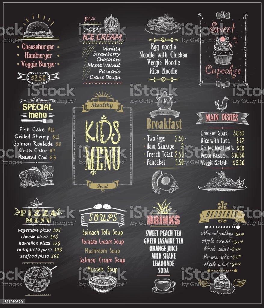 Kids menu chalkboard designs set vector art illustration