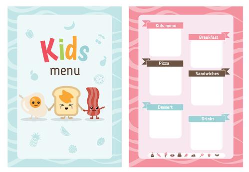 Kids menu design
