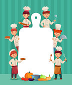 Kids menu frame. Children chefs cook with cutting board, restaurant chef and chopping food. Restaurant chef food cooking meal healthy childish menu template cartoon vector illustration