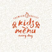 Kids menu label and fast food seamless pattern in brush drawing style