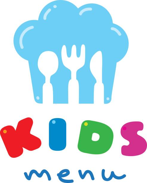illustrazioni stock, clip art, cartoni animati e icone di tendenza di kids menu logo with chefs hat spoon fork and knife - galateo a tavola