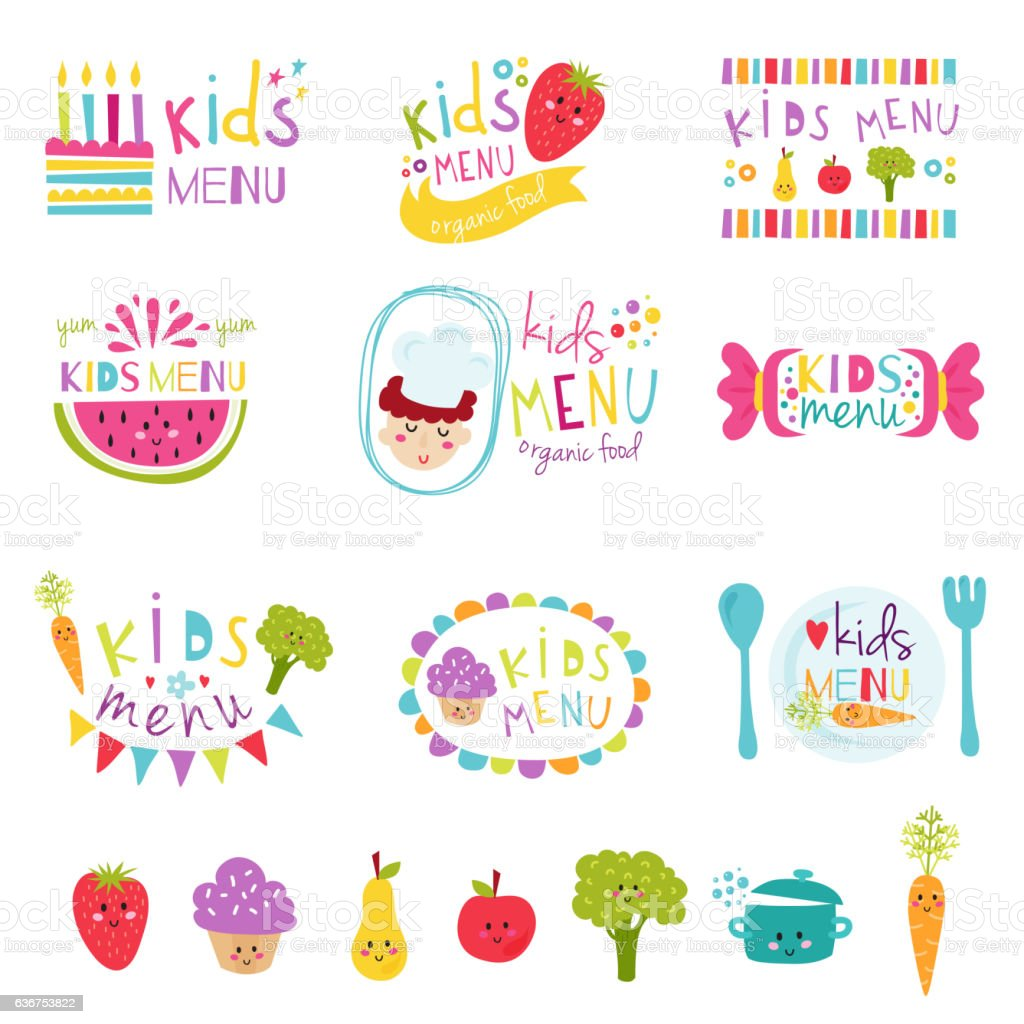 Kids menu stickers vector set. vector art illustration