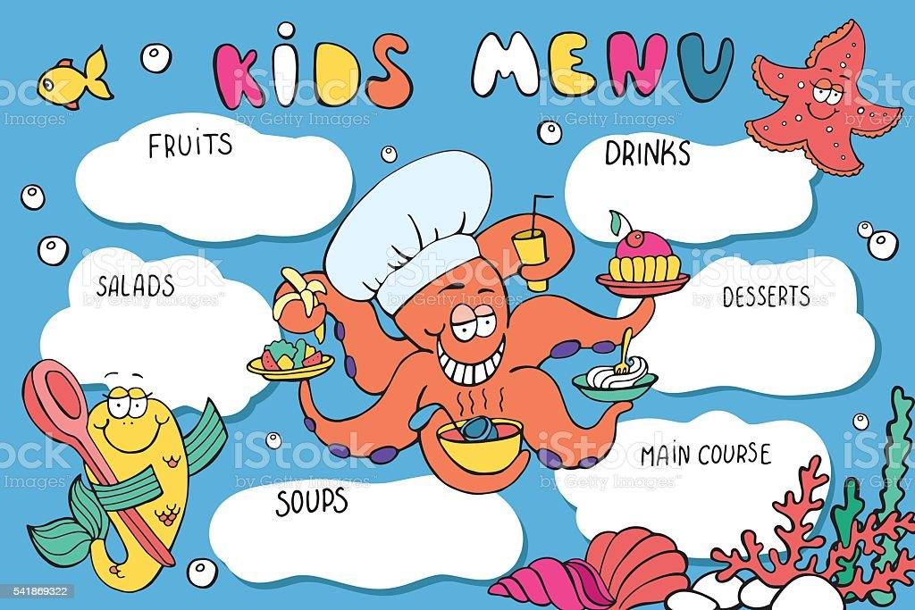 Kids Menu Template. Funny Cartoon Sea Creatures: Octopus, Starfish, Fish.  Royalty  Free Kids Menu Templates