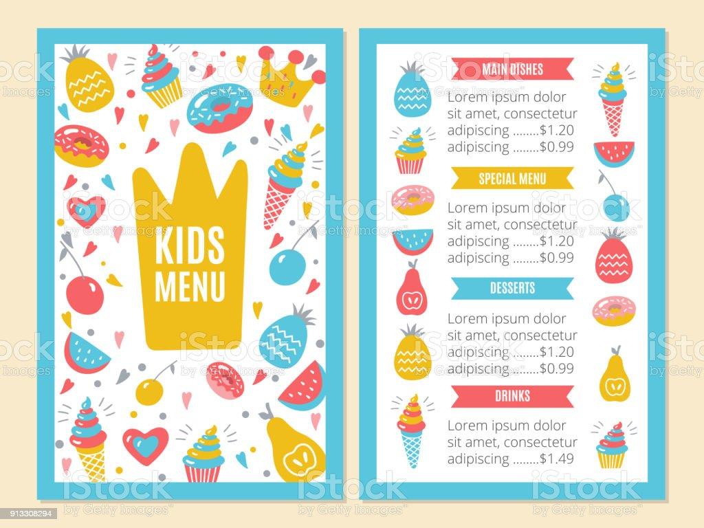 Kids Menu Template Stock Vector Art & More Images of Design ...