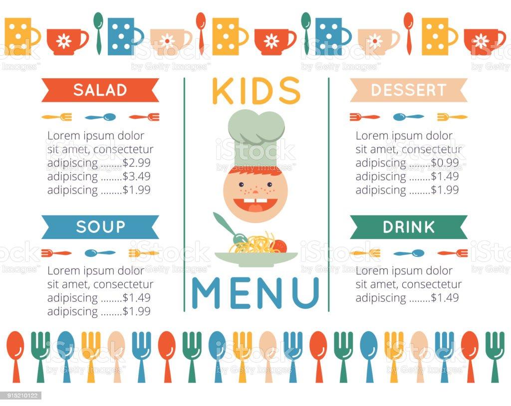 kids menu template stock vector art more images of design