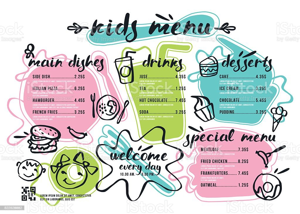 Kids Menu Template With Lettering And Badges Stock Vector Art & More ...