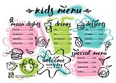 cute colorful kids meal menu template stock vector art more images