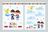 Colorful kids menu with pirates pictures. Cover for children's menu. Sketch for your design. Vector template.