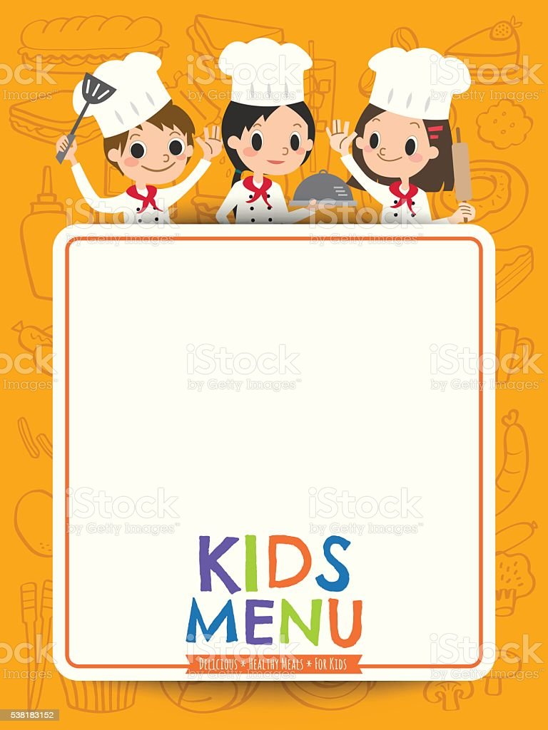 Kids Menu Young Chef Children With Blank Menu Board Cartoon Royalty Free Kids  Menu Young  Kids Menu Templates
