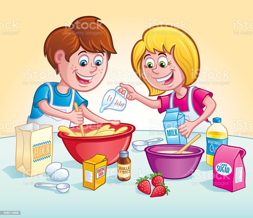 Kids Mixing Up A Recipe vector art illustration