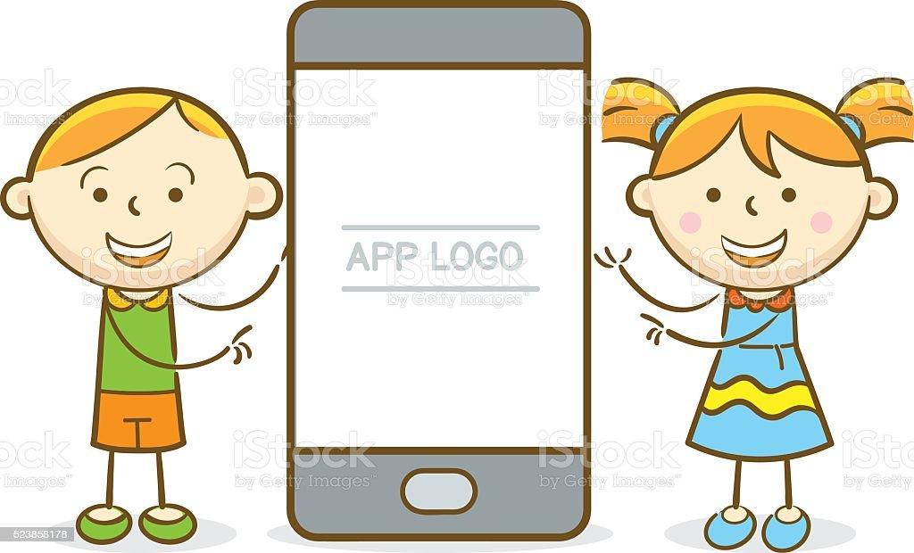 Kids Mobile Presentation Stock Vector Art & More Images of ...