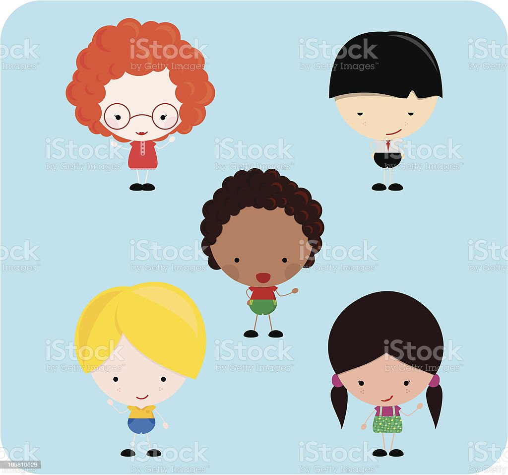 Kids multicultural royalty-free stock vector art