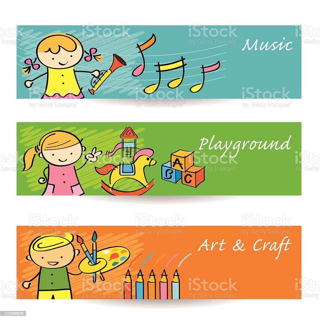Kindermusik Kunst Spielplatz Banner Stock Vektor Art und mehr Bilder ...