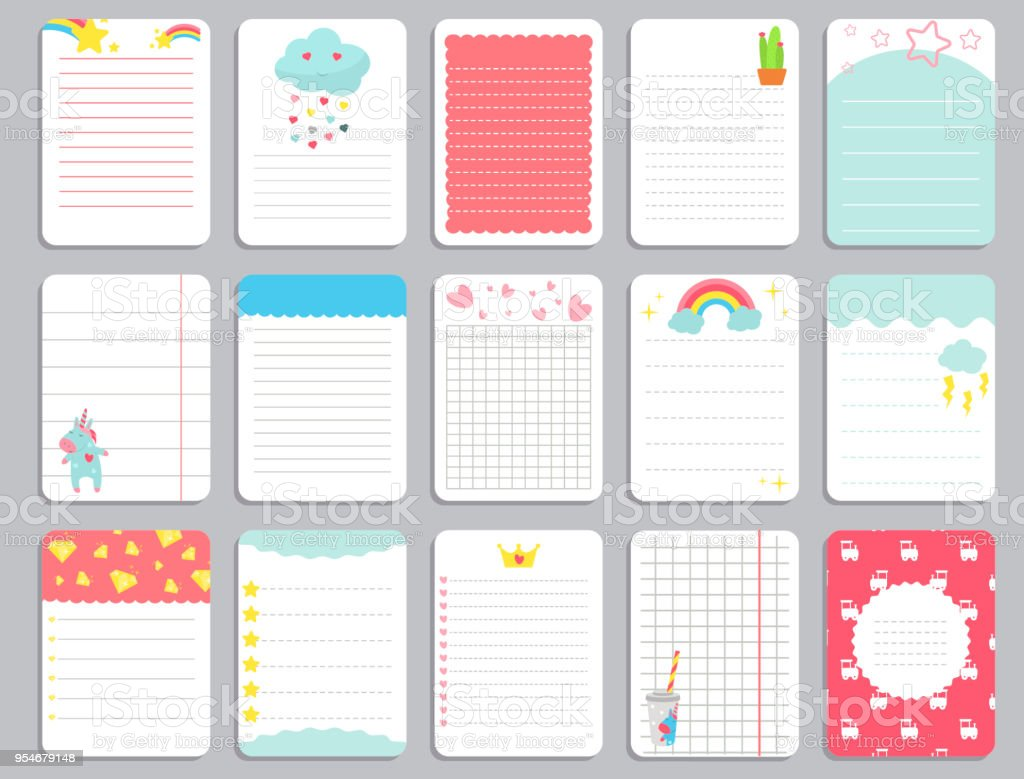 kids notebook page template vector cards notes stickers labels tags