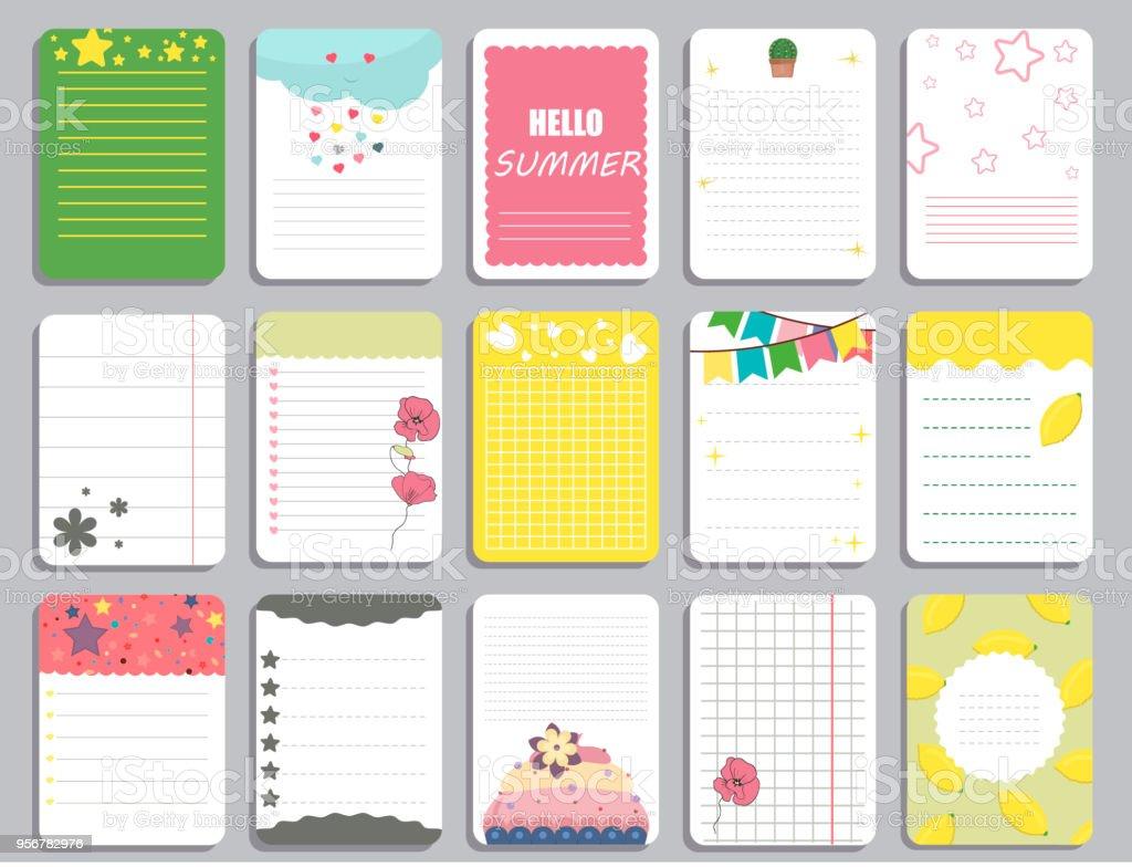 子供のノート ページ テンプレート ベクトル カードノートステッカー