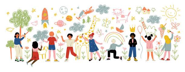 stockillustraties, clipart, cartoons en iconen met kinderen van verschillende nationaliteiten schilderen en tekenen met penselen en potloden op witte muur vector illustratie - verbeelding