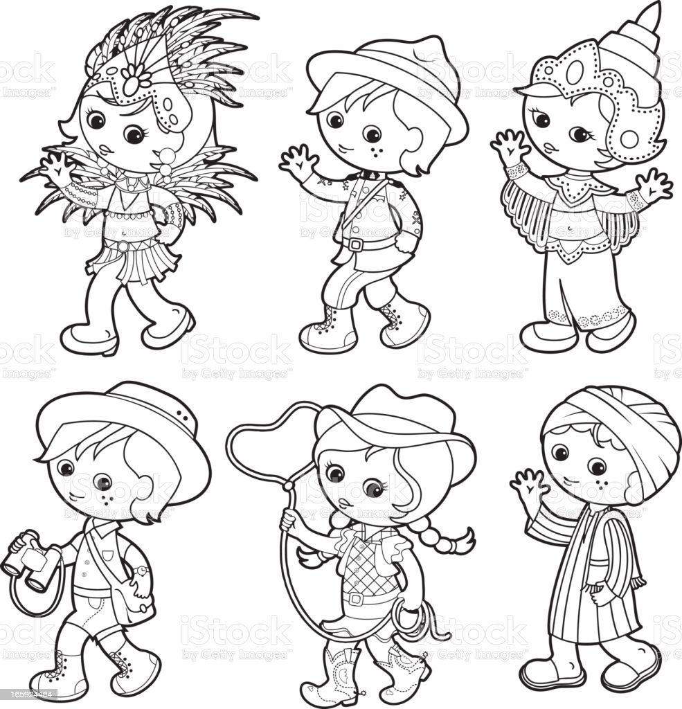 Kids of the World coloring set royalty-free stock vector art