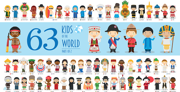 Kids of the World Part 1: 63 children characters