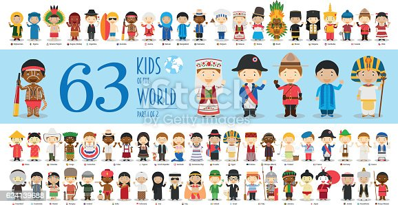 Kids of the World Vector Characters Collection Part 1: Set of 63 children of different nationalities in cartoon style.