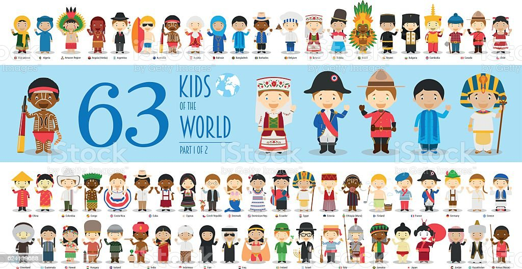 Kids of the World Part 1: 63 children characters vector art illustration