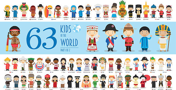 Kids of the World Part 1: 63 children characters Kids of the World Vector Characters Collection Part 1: Set of 63 children of different nationalities in cartoon style. indonesia stock illustrations