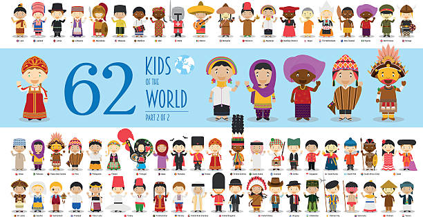 ilustrações de stock, clip art, desenhos animados e ícones de kids of the world part 2: 62 children characters - crianças todas diferentes
