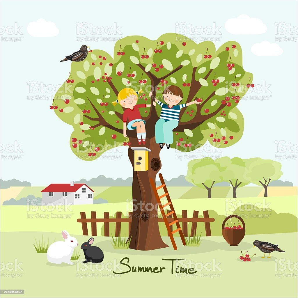 Kids on a cherry tree, summer greeting card vector art illustration