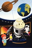 Kids on a field trip to planetarium