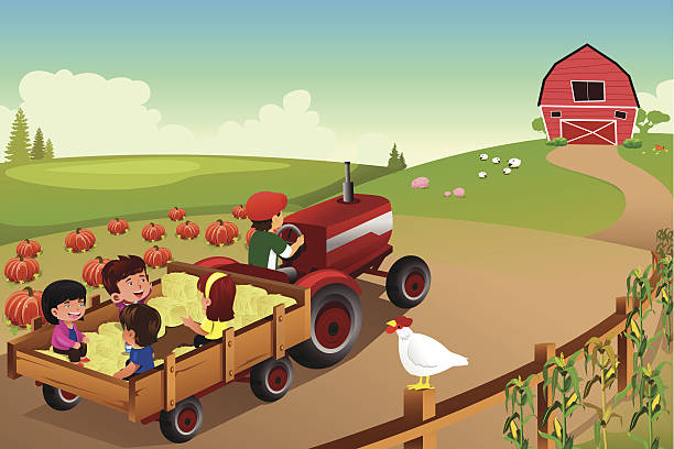 kinder auf einer hayride in einer farm in den herbst - herbstgemüseanbau stock-grafiken, -clipart, -cartoons und -symbole