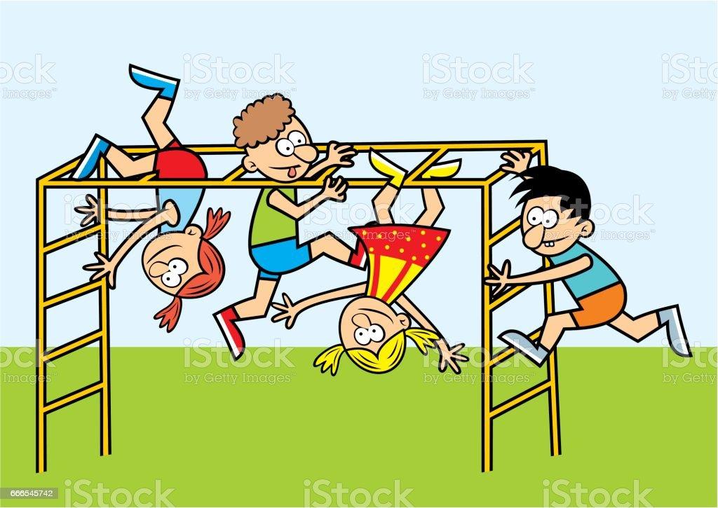 Cartoon Kids Playing On Junglegym