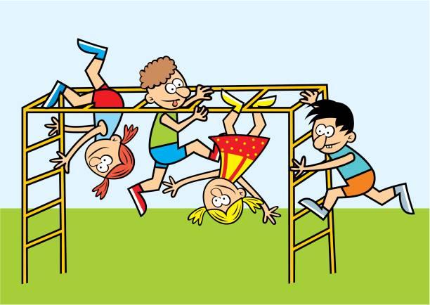 kids on a jungle gym - monkey bars stock illustrations, clip art, cartoons, & icons
